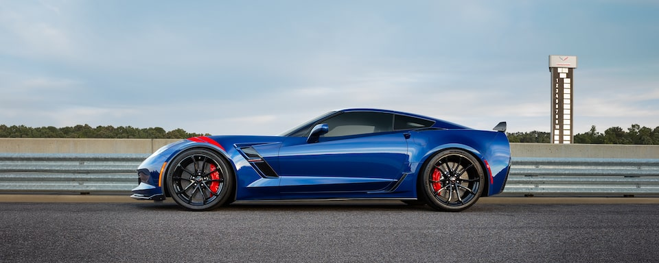 Exterior side view of the 2019 Chevrolet Corvette Grand Sport sports car