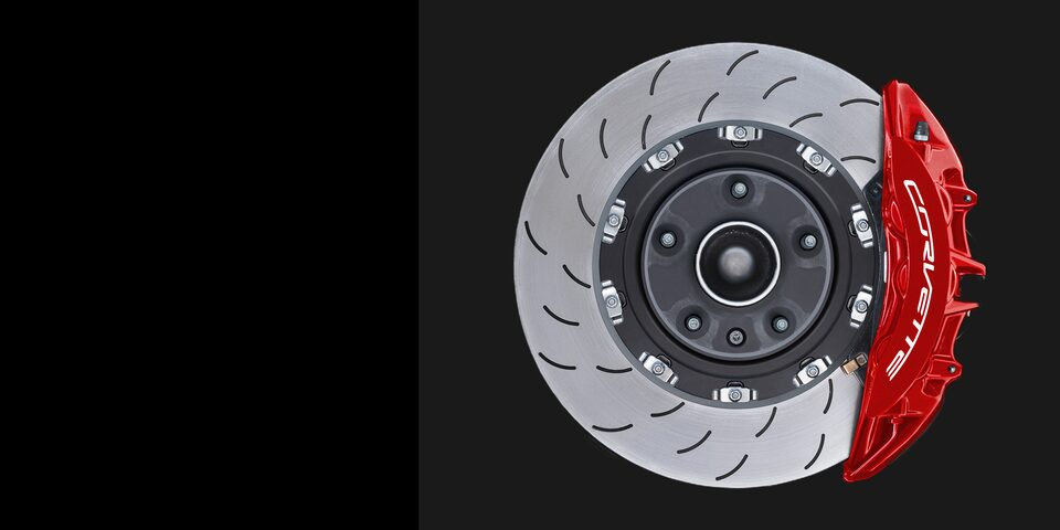 The large standard Brembo two-piece steel rotors inside the 2019 Corvette Grand Sport