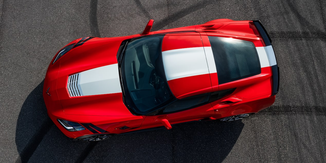 Top view of the 2019 Corvette Grand Sport sports car
