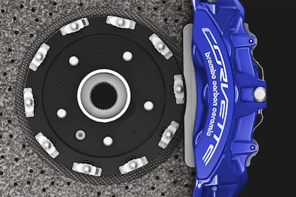 Corvette ZR1's standard high-performance Brembo carbon ceramic brakes.