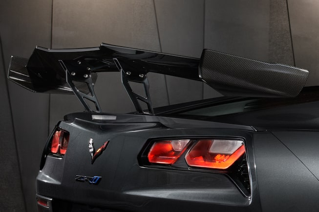 Chevrolet Corvette ZR1's available ZTK Performance Package featuring it's high rear wing.