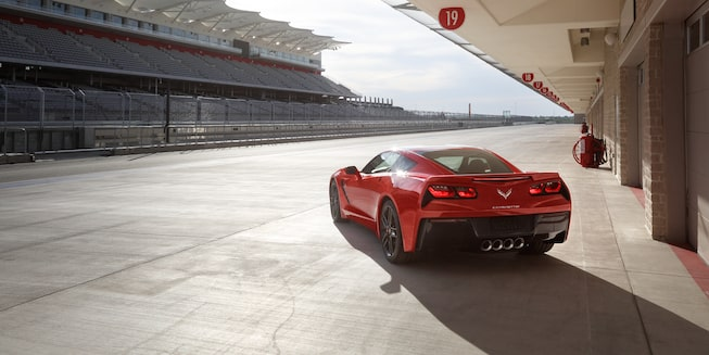 Rear exterior view of the 2019 Corvette Stingray.