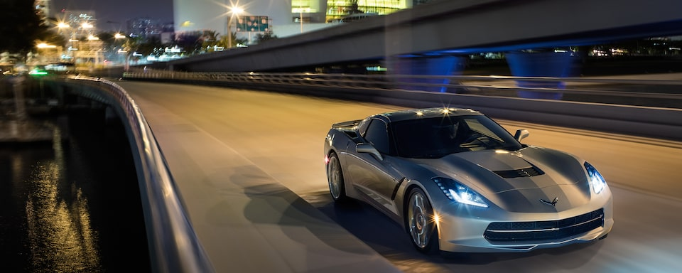 Exterior view of the 2019 Stingray on the road.