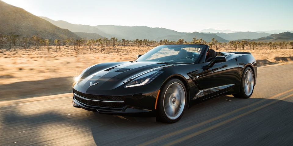 Exterior view of the 2019 Corvette Stingray convertible.
