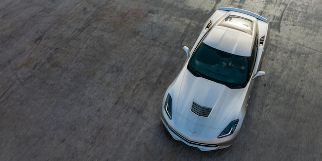 Overhead exterior view of the 2019 Corvette Stingray Coupe sports car.