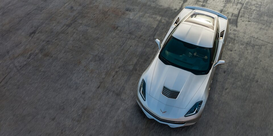 Overhead exterior overhead profile of the 2019 Corvette Stingray sports car.
