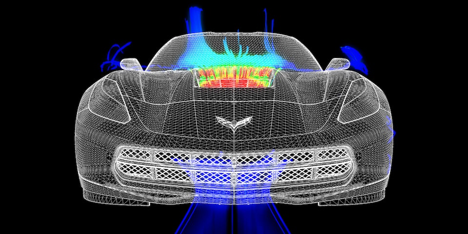 Cooling components of the 2019 Chevrolet Corvette Stingray.