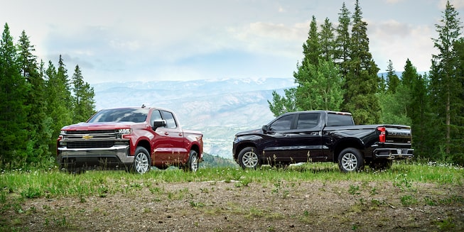 2019 Chevrolet Silverado Crew Cab Short Box LT, and Silverado Crew Cab Short Box RST.