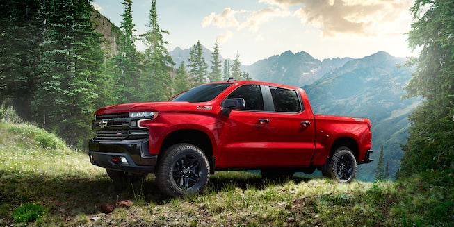 2019 Silverado Crew Cab Short Box LT Trail Boss in Red Hot.