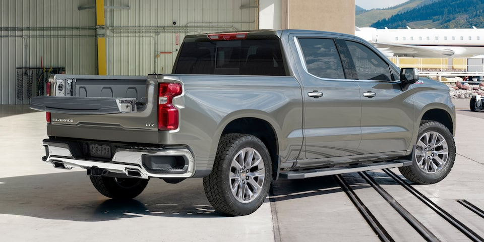 2021 Silverado 1500 Pickup Truck with Multiflex Tailgate: Rear Passenger's Side View