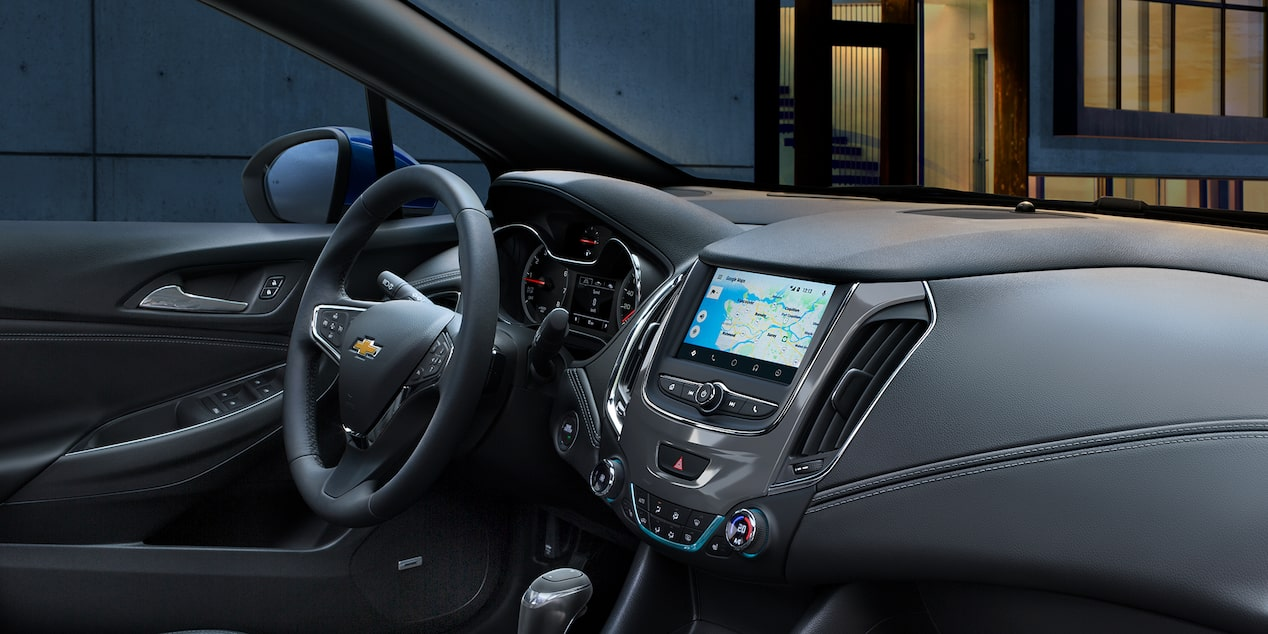 Cabin view of the 2019 Cruze compact car.