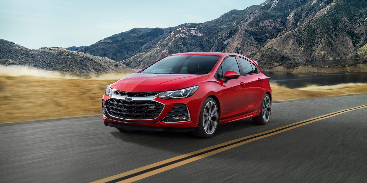 The front view of 2019 Chevrolet Cruze compact car.