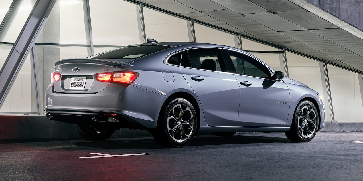 Rear exterior profile of the 2019 Chevrolet Malibu.