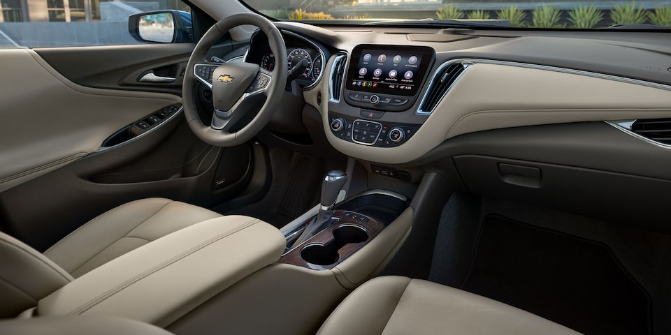 2020 Chevy Malibu Midsize Car Leather Seats With Light Wheat Interior