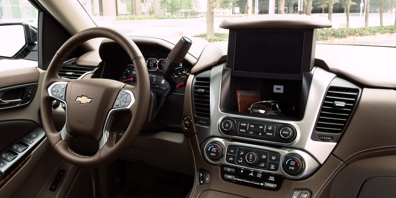 2019 Tahoe design: 8-inch diagonal touch-screen display with hidden lockable storage compartment and USB port.