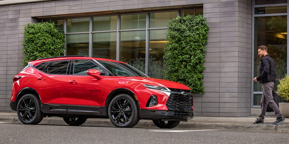 Parked Red Hot Chevrolet Blazer RS.
