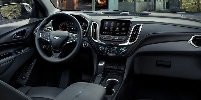 Interior view of the 2020 Chevrolet Equinox compact SUV's driver cockpit.