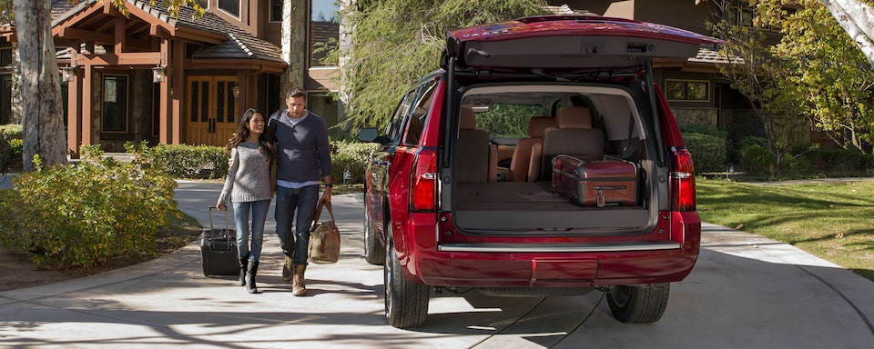2020 Chevrolet Tahoe Full-Size SUV Rear Liftgate Open.