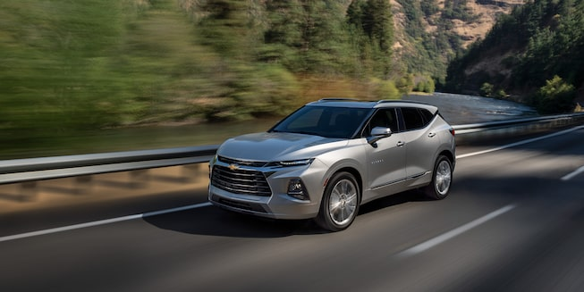 2021 Chevrolet Blazer mid-size SUV: driving on the road.