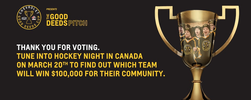 Thank you for voting. Tune into Hockey Night in Canada on March 20th to find out which team will win $100,000 for their community.