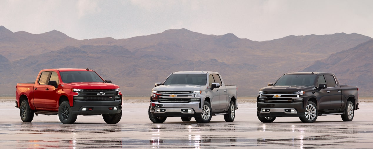 The Chevrolet lineup of Silverado pickup trucks.