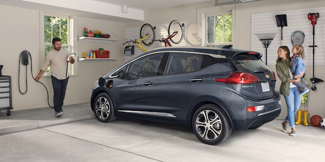 2020 Bolt EV Electric Car Exterior Photo: Garage Charging Station.