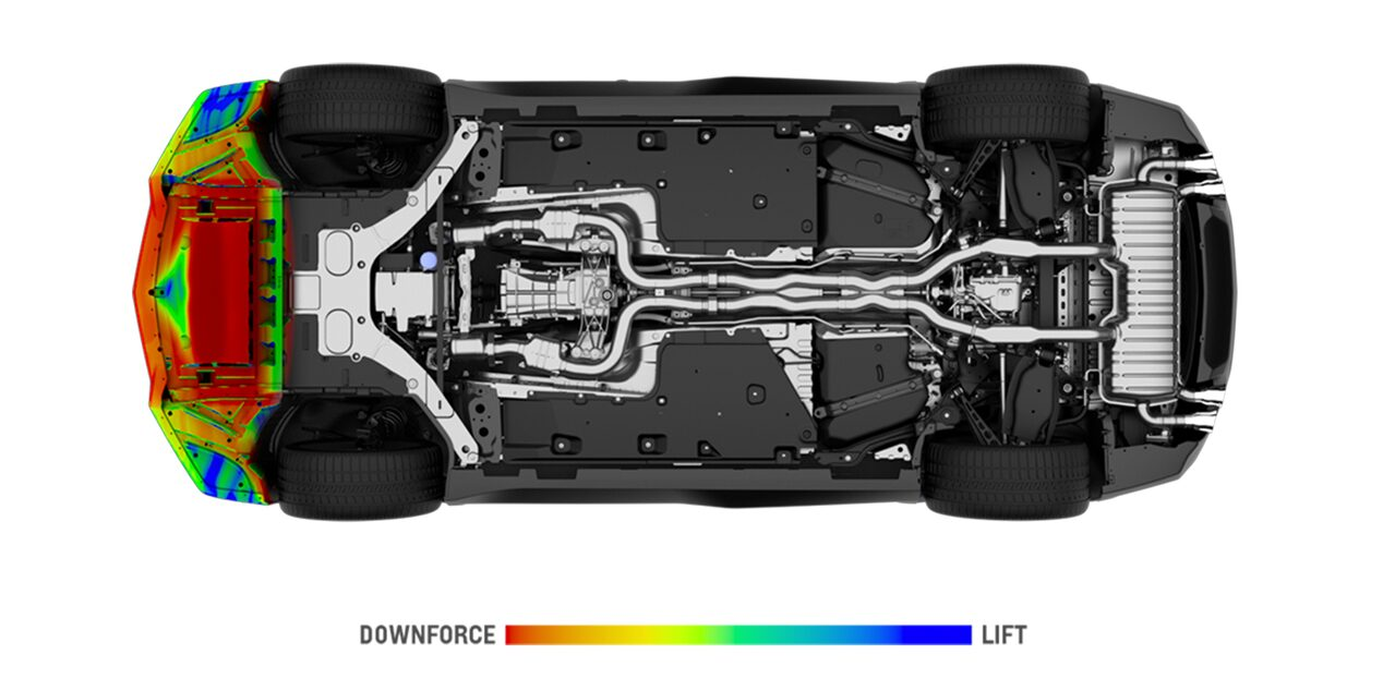 Bottom view of the front air dam aerodynamic model of the 2019 Camaro ZL1.