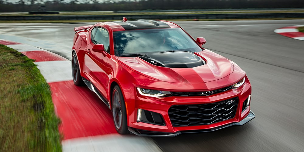 Red and Black 2019 Chevrolet Camaro ZL1 on track.
