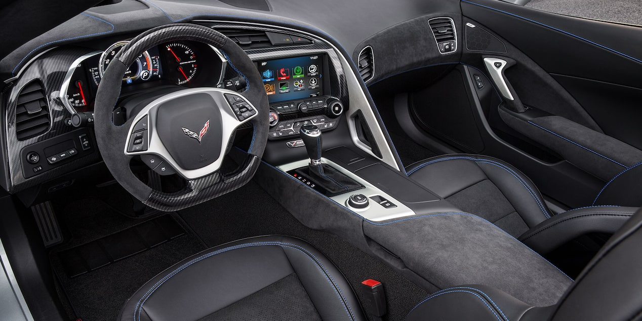 The flat bottom steering wheel inside the 2019 Corvette Grand Sport