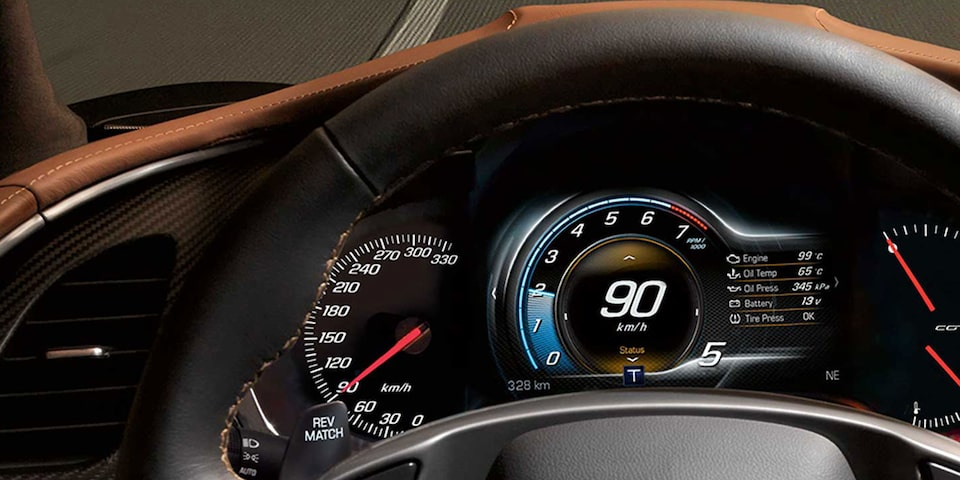 The 8-inch diagonal LCD display inside the 2019 Chevrolet Corvette Grand Sport sports car