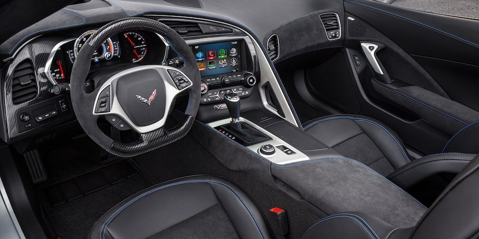 Interior front seat view in the 2019 Corvette Stingray sports car.