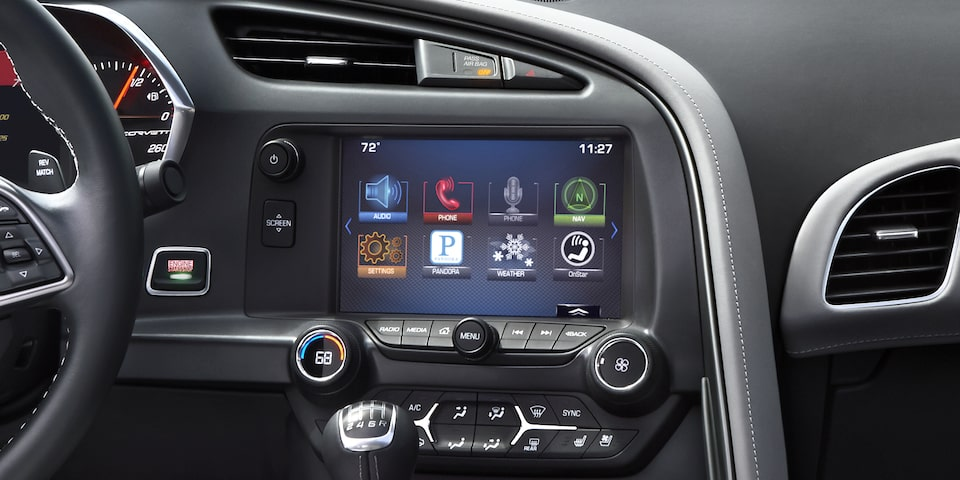 The Chevrolet infotainment touch-screen display inside the 2019 Corvette Grand Sport