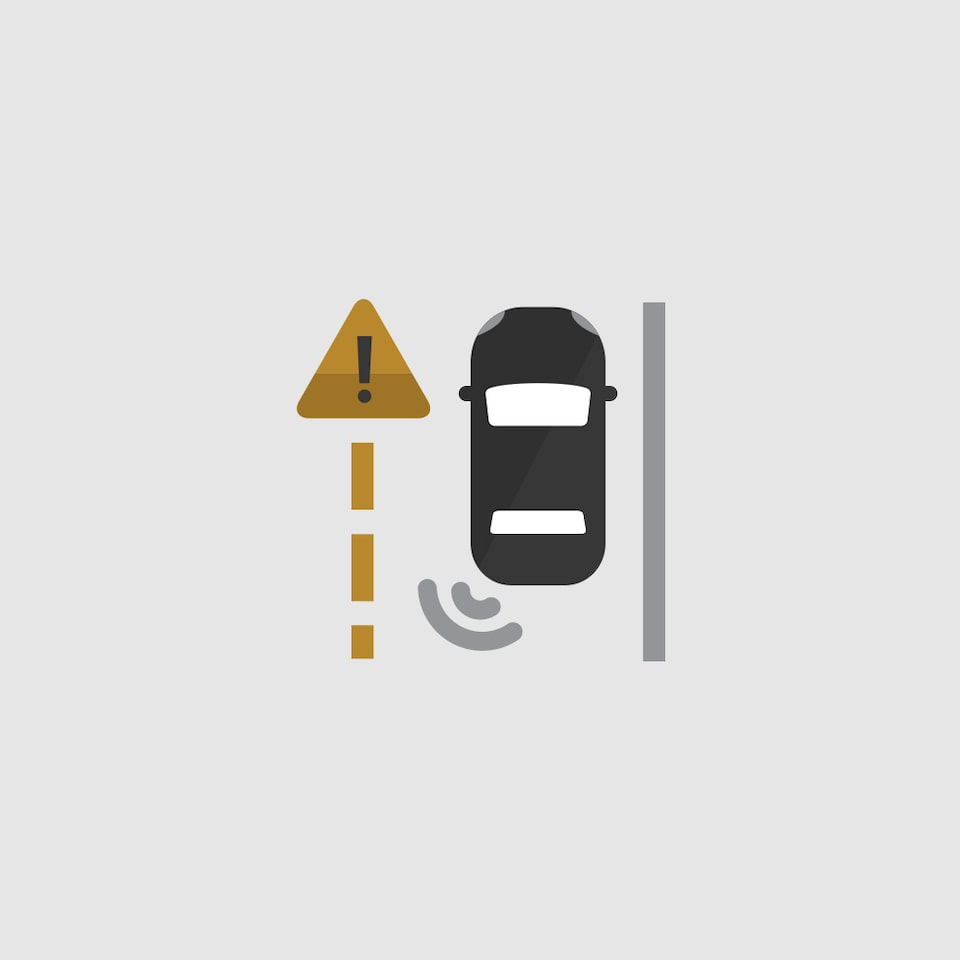 Lane Change Alert with Side Blind Zone Alert Icon.