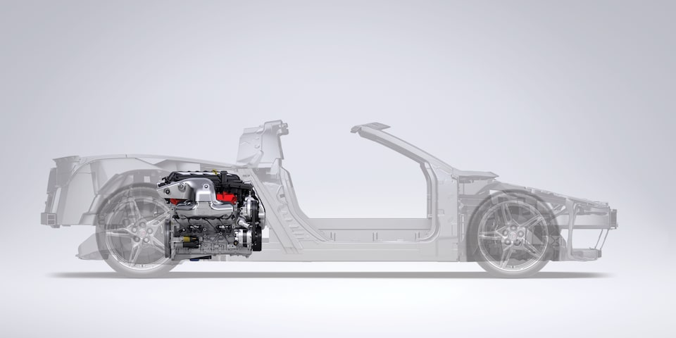 2021 Chevrolet Corvette Mid-Engine Sports Car Body Structure Frame.