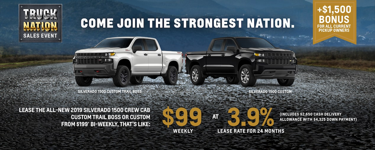 LEASE THE ALL-NEW 2019 SILVERADO 1500 CREW CAB CUSTOM TRAIL BOSS OR CUSTOM FROM $199* BI-WEEKLY THAT'S LIKE $99 WEEKLY AT 3.9% LEASE RATE FOR 24 MONTHS  (INCLUDES $2,650 CASH DELIVERY ALLOWANCE WITH $4,325 DOWN PAYMENT)