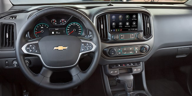 A connected 2019 Colorado with available navigation system.