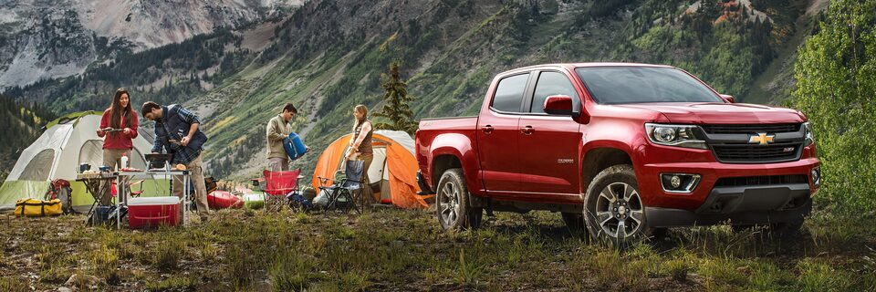 The available GearOn storage system of the Chevy Colorado mid-size truck.