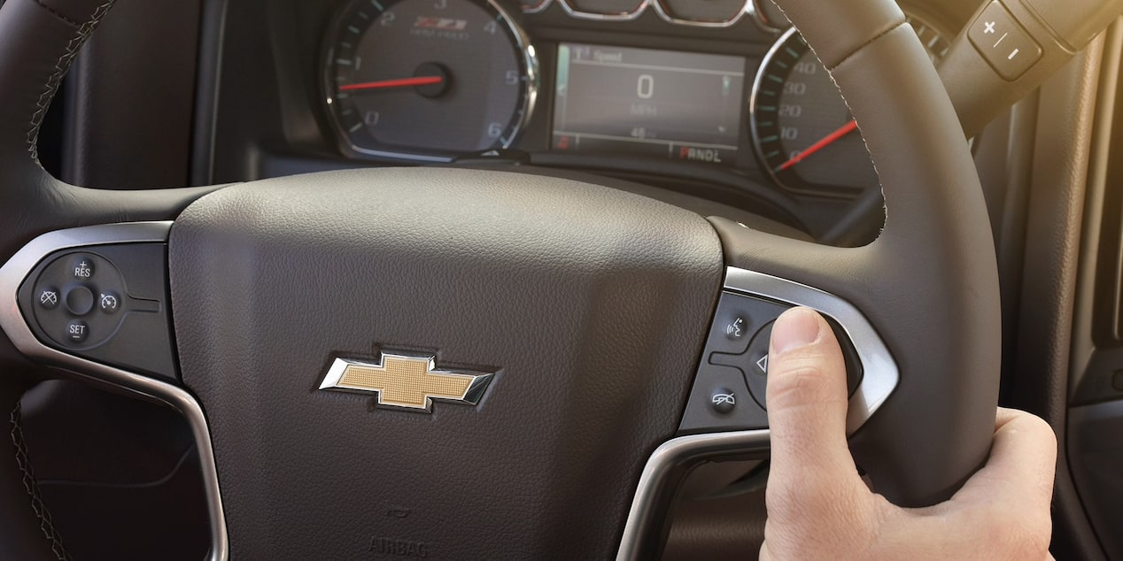 Steering wheel controls in the 2019 Chevrolet Silverado HD.