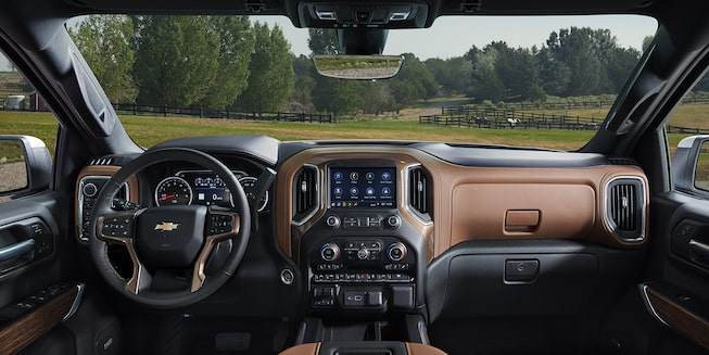Chevrolet Silverado High Country interior in Jet Black with Umber accents.