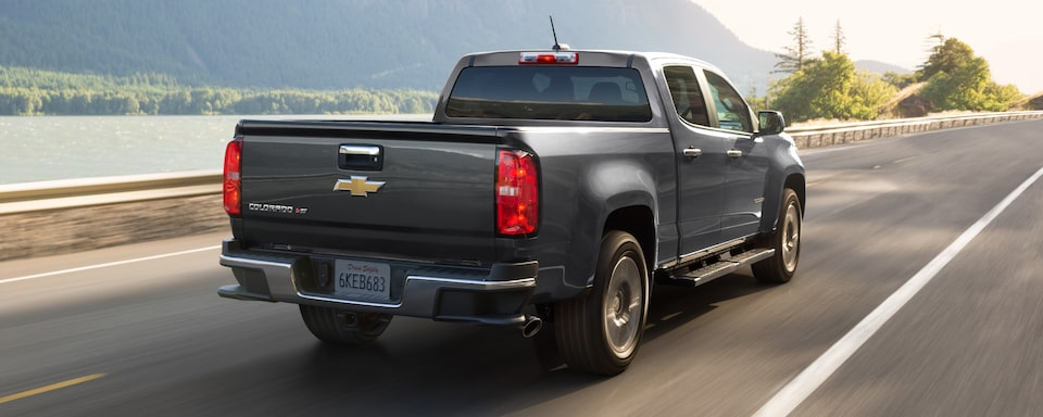2020 Chevrolet Colorado Mid-Size Pickup Truck Rear Angle View.