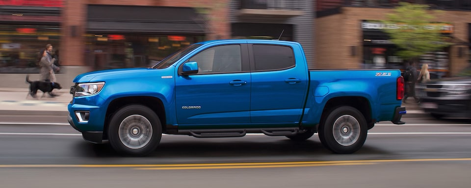 2020 Chevrolet Colorado Mid-Size Pickup Truck Front Passenger Side Angle View.