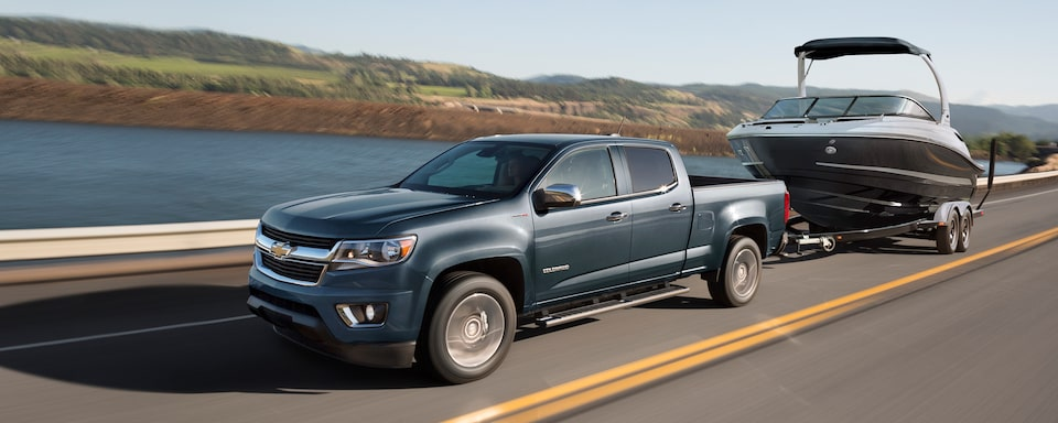 2020 Chevrolet Colorado Mid-Size Truck Towing Boat.