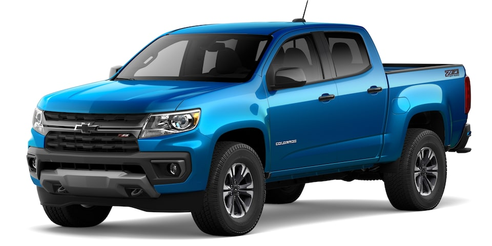 2021 Chevrolet Colorado in Bright Blue Metallic.