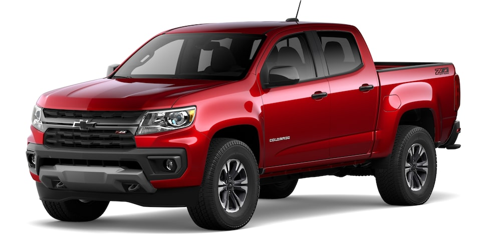 Chevrolet Colorado 2021 en teint rouge cerise.