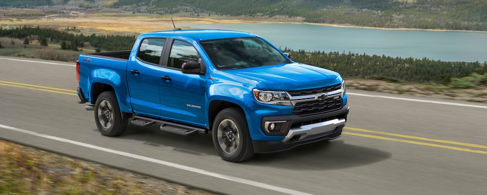 2021 Chevrolet Colorado Small Truck Side View Wide Angle.