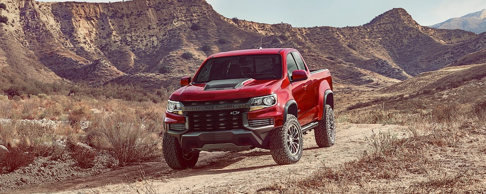 2021 Chevrolet Colorado ZR2 Truck Driving Off-Road in Mountains.
