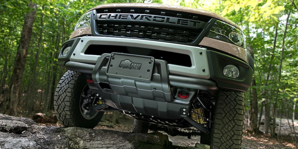 2021 Chevrolet Colorado ZR2 Bison Front Plate Closeup.