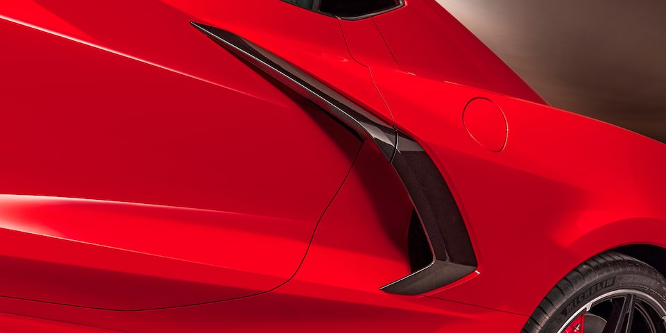 2020 Chevrolet Corvette Mid-Engine Sports Car Front Side Angle View.