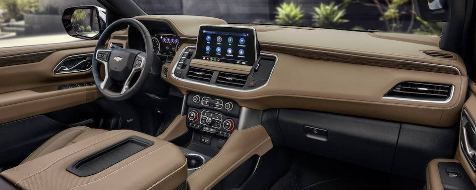 Interior of the 2021 Chevrolet Tahoe and Suburban with driver-centric enhancements.