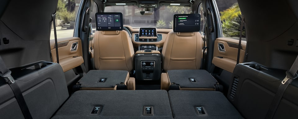 The 2021 Suburban and Tahoe's spacious second and third row seats folded down and expanded cabin.
